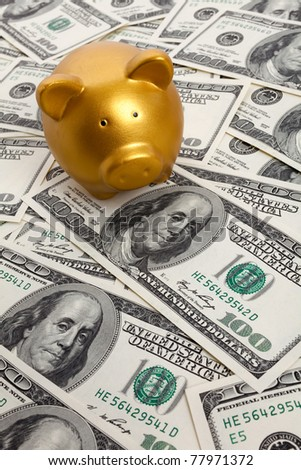 Piggy Bank and Hundred Dollar Bills for background