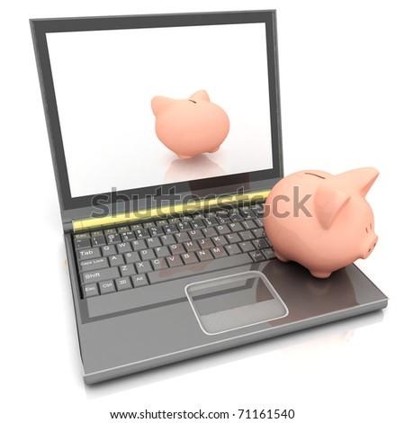 Piggy bank and laptop