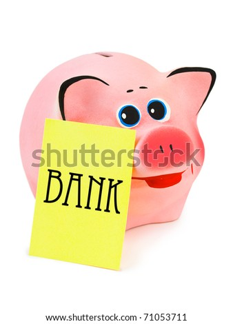 Piggy bank and note paper isolated on white background