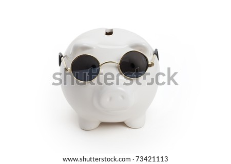 Piggy Bank and Sunglasses , concept of savings