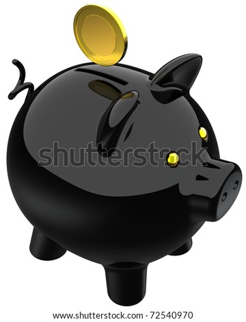 Piggy bank carbon black with a golden coin over it. Savings banking business concept. This is a detailed three-dimensional render 3d (Hi-Res). Isolated on white background