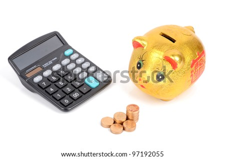 Piggy bank,coins and calculator