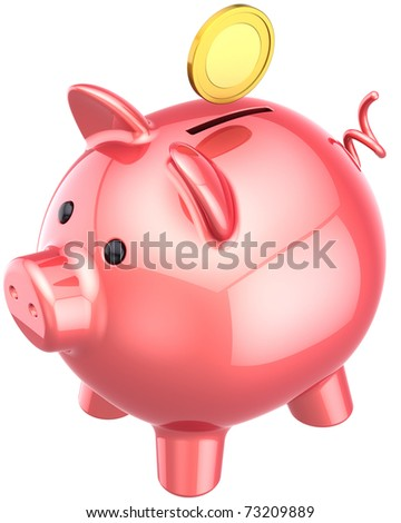 Piggy bank colored pink classic with a golden coin over it. Finance donate banking business concept. This is a detailed three-dimensional render 3d (Hi-Res). Isolated on white background