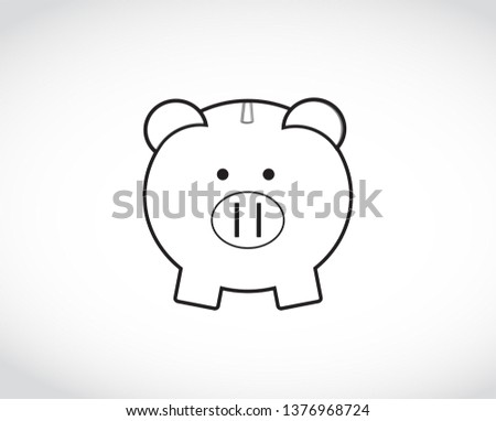 Piggy Bank drawing. Illustration isolated over a white background