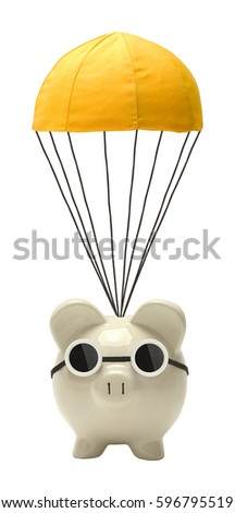 Piggy Bank Floating with Golden Parachute Isolated on White.