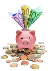 piggy bank full of Euros