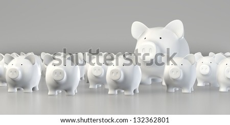 Piggy bank - Group with big pig - stock photo