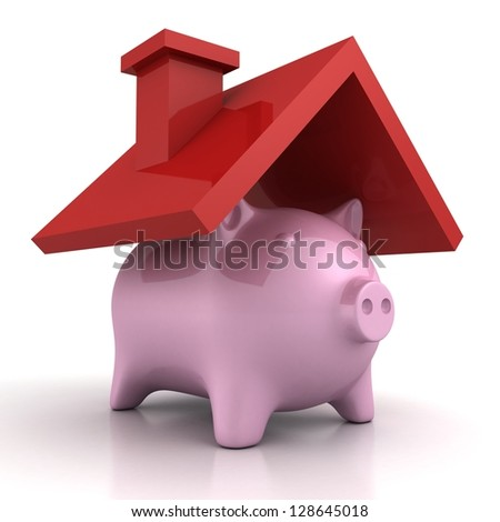 piggy bank home saving under cover roof
