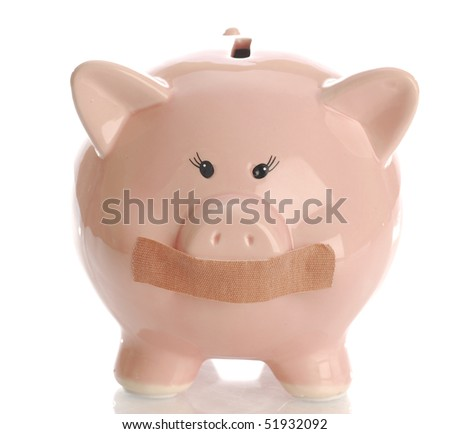 piggy bank hushed up with tape or bandaid on mouth with reflection on white background