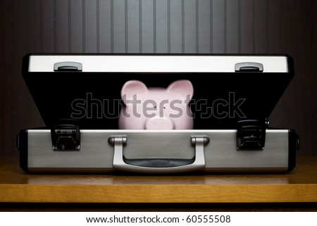 Piggy bank in a briefcase