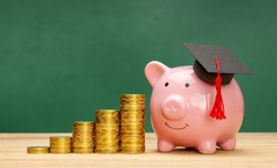 Piggy bank in a graduate cap near stack of coins. Savings for education. Higher education prices. Green school board background