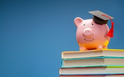 Piggy bank in graduate hat on stack of books. Blue background. Copy space for text.