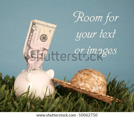 Piggy bank in green grass with a blue background with money sticking out and room for your text or images - stock photo