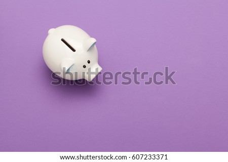 Piggy bank isolated on purple background