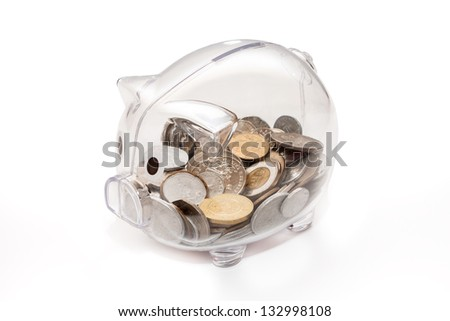Piggy bank. Isolated on white background.