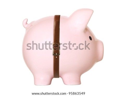 Piggy bank isolated on white background  Humor