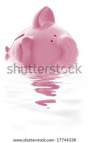 Piggy bank keeping its head above water.  Or is it drowning?