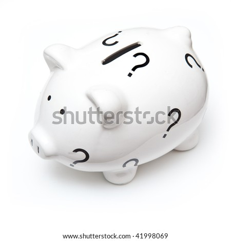 Piggy bank money box isolated on a white studio background.