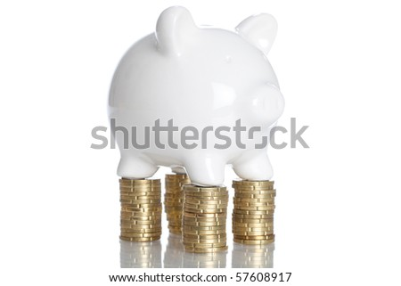 Piggy Bank on a stack of coins