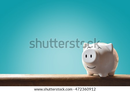 Piggy bank on blue background. Soft focus
