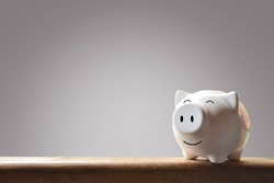 Piggy bank on gray background. Soft focus