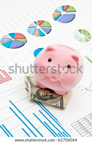 Piggy bank on money with business charts