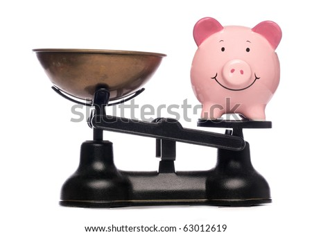 piggy bank on scales studio cutout