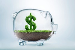 Piggy bank savings concept with grass growing in shape of US dollar