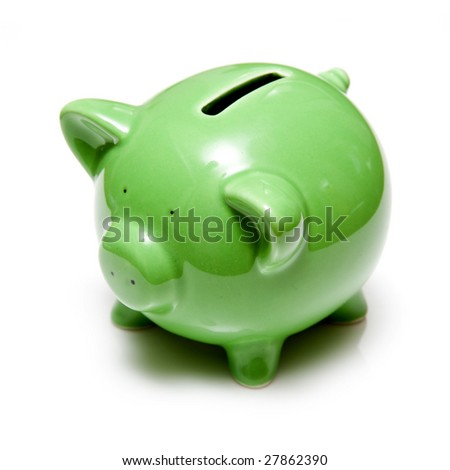 Piggy bank style money box, isolated on a white studio background.