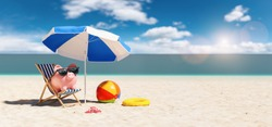 Piggy Bank sunglasses in a beach chair on the Beach with umbrella - Holidays In Economic