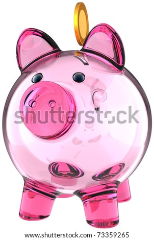 Piggy bank. Transparent glass money box colored pink with a golden coin over it. Business donate banking savings concept. This is a detailed three-dimensional render 3d. Isolated on white background