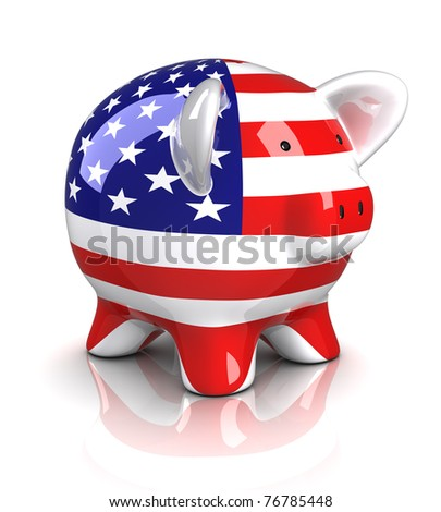 Piggy Bank - USA (Isolated) - stock photo