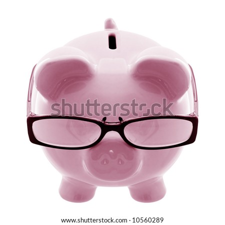 Piggy bank wearing spectacles - a thoughtful investor.