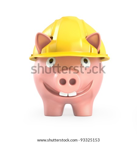 Piggy bank wears yellow helmet, front view isolated on white background