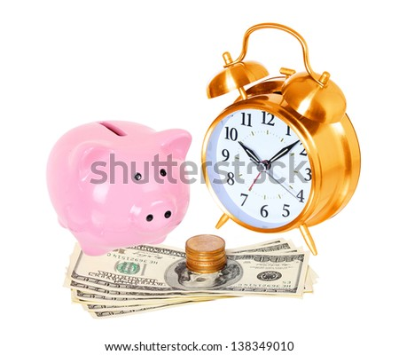 Piggy bank with alarm clock and money isolated on a white studio background . concept . style money box