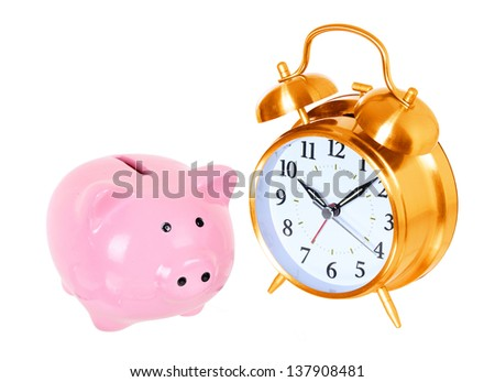 Piggy bank with alarm clock isolated on a white studio background . concept . style money box