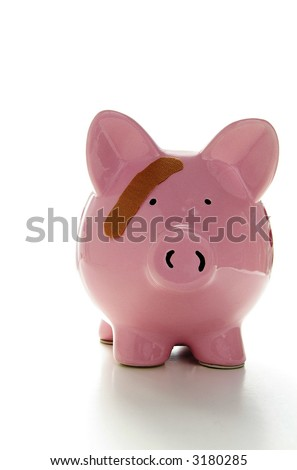 Piggy bank with band-aid. Symbolizes health-care costs