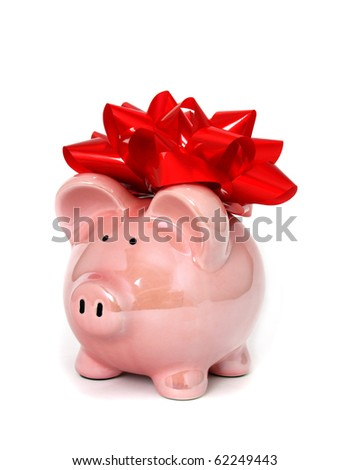 Piggy bank with big red bow