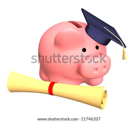 Piggy bank with cap and the diploma. Objects over white