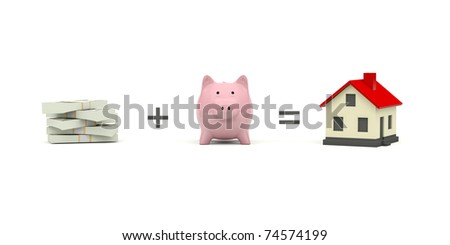 Piggy Bank with cash and house isolated on white