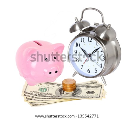 Piggy bank with clock and money isolated on a white studio background . concept . style money box