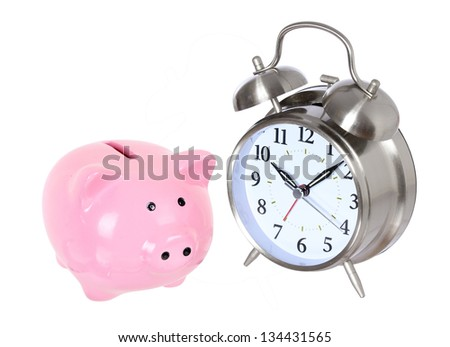 Piggy bank with clock isolated on a white studio background . concept . style money box