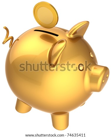 Piggy bank with coin over it total golden symbol. Money container donate payment banking savings wealth earning concept. This is a detailed three-dimensional render 3d. Isolated on white background