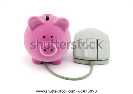 Piggy bank with computer mouse - stock photo