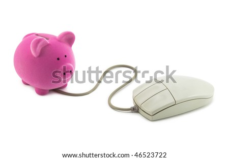 Piggy bank with computer mouse. Clipping path included.