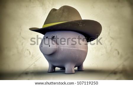 piggy bank with cowboy cap