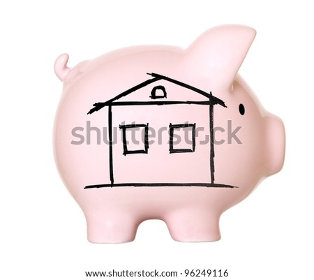 Piggy bank with drawn  house