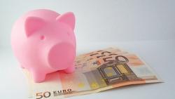 Piggy bank with 50 euro bills