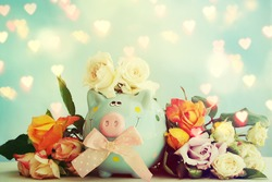 Piggy bank with flowers. Gift for Mothers Day
