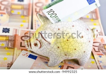 piggy bank with geld
